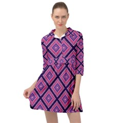 Ethnic Seamless Pattern Tribal Line Print African Mexican Indian Style Mini Skater Shirt Dress