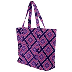 Ethnic Seamless Pattern Tribal Line Print African Mexican Indian Style Zip Up Canvas Bag