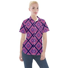 Ethnic Seamless Pattern Tribal Line Print African Mexican Indian Style Women s Short Sleeve Pocket Shirt