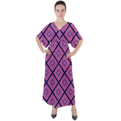 Ethnic Seamless Pattern Tribal Line Print African Mexican Indian Style V Neck Boho Style Maxi Dress