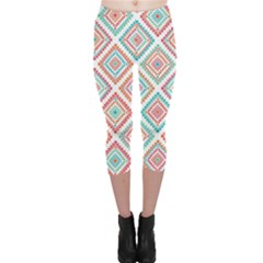 Ethnic Seamless Pattern Tribal Line Print African Mexican Indian Style Capri Leggings