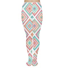 Ethnic Seamless Pattern Tribal Line Print African Mexican Indian Style Tights
