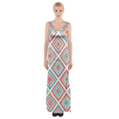Ethnic Seamless Pattern Tribal Line Print African Mexican Indian Style Thigh Split Maxi Dress
