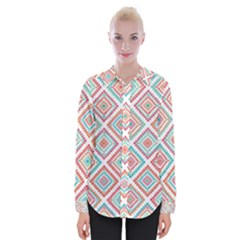 Ethnic Seamless Pattern Tribal Line Print African Mexican Indian Style Womens Long Sleeve Shirt