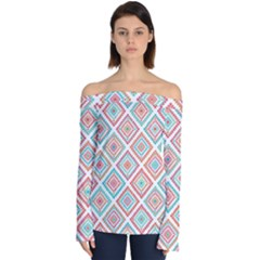 Ethnic Seamless Pattern Tribal Line Print African Mexican Indian Style Off Shoulder Long Sleeve Top