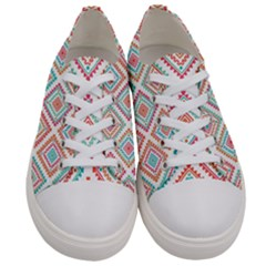 Ethnic Seamless Pattern Tribal Line Print African Mexican Indian Style Women s Low Top Canvas Sneakers