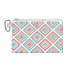 Ethnic Seamless Pattern Tribal Line Print African Mexican Indian Style Canvas Cosmetic Bag (medium)
