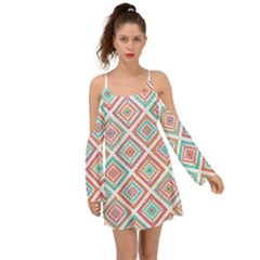Ethnic Seamless Pattern Tribal Line Print African Mexican Indian Style Kimono Sleeves Boho Dress