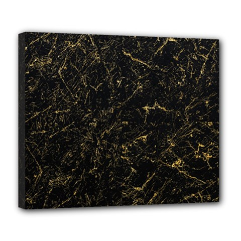 Black Marbled Surface Deluxe Canvas 24  X 20  (stretched)