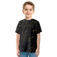 Black Marbled Surface Kids  Sport Mesh Tee