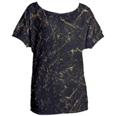 Black Marbled Surface Women s Oversized Tee