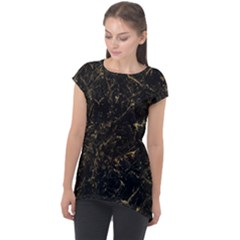Black Marbled Surface Cap Sleeve High Low Top