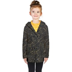 Black Marbled Surface Kids  Double Breasted Button Coat