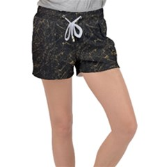 Black Marbled Surface Women s Velour Lounge Shorts