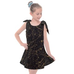 Black Marbled Surface Kids  Tie Up Tunic Dress