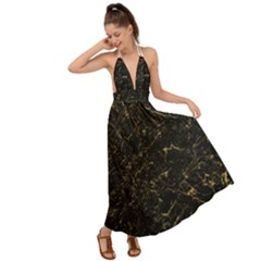 Black Marbled Surface Backless Maxi Beach Dress by Vaneshart