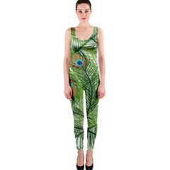 Peacock Feathers Pattern One Piece Catsuit