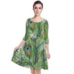 Peacock Feathers Pattern Quarter Sleeve Waist Band Dress