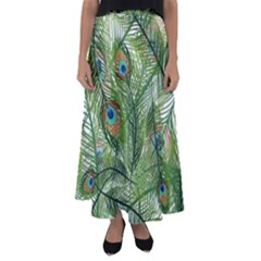 Peacock Feathers Pattern Flared Maxi Skirt
