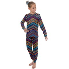 Full Color Pattern With Ethnic Ornaments Kids  Long Sleeve Set  by Vaneshart