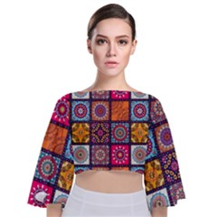 Mandala Pattern Tie Back Butterfly Sleeve Chiffon Top