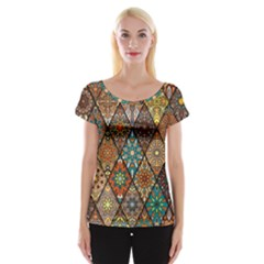 Colorful Vintage Seamless Pattern With Floral Mandala Elements Hand Drawn Background Cap Sleeve Top