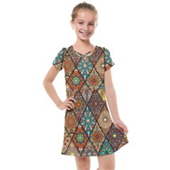 Colorful Vintage Seamless Pattern With Floral Mandala Elements Hand Drawn Background Kids  Cross Web Dress by Vaneshart