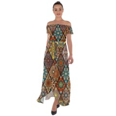 Colorful Vintage Seamless Pattern With Floral Mandala Elements Hand Drawn Background Off Shoulder Open Front Chiffon Dress