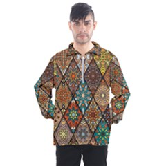 Colorful Vintage Seamless Pattern With Floral Mandala Elements Hand Drawn Background Men s Half Zip Pullover