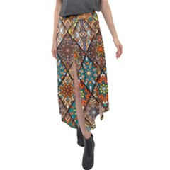 Colorful Vintage Seamless Pattern With Floral Mandala Elements Hand Drawn Background Velour Split Maxi Skirt