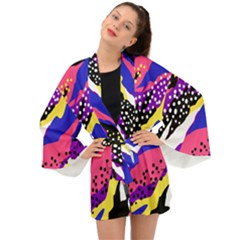 Colorful Abstract Waves Pattern Long Sleeve Kimono