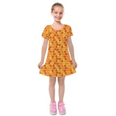 Honeycomb Kids  Short Sleeve Velvet Dress by retrotoomoderndesigns