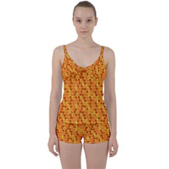 Honeycomb Tie Front Two Piece Tankini by retrotoomoderndesigns
