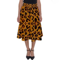 Orange Leopard Perfect Length Midi Skirt by retrotoomoderndesigns