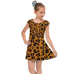 Orange Leopard Kids  Cap Sleeve Dress