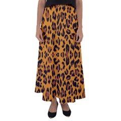 Orange Leopard Flared Maxi Skirt by retrotoomoderndesigns