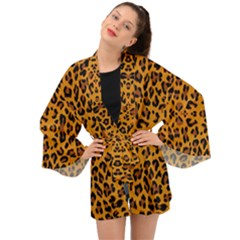 Orange Leopard Long Sleeve Kimono
