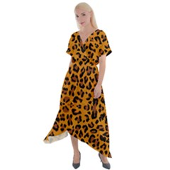 Orange Leopard Cross Front Sharkbite Hem Maxi Dress