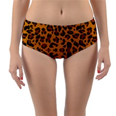 Orange Leopard Reversible Mid-waist Bikini Bottoms by retrotoomoderndesigns