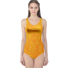 Sunshine Orange One Piece Swimsuit by retrotoomoderndesigns