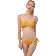 Sunshine Orange Twist Bandeau Bikini Set by retrotoomoderndesigns