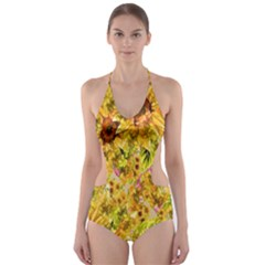 Orange Yellow Sunflowers Cut-out One Piece Swimsuit by retrotoomoderndesigns