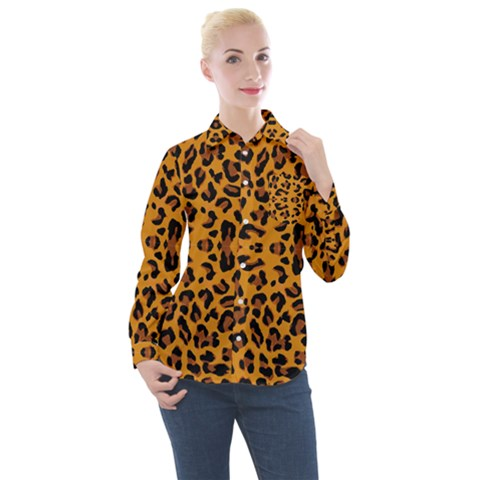 Orange Leopard Women s Long Sleeve Pocket Shirt by retrotoomoderndesigns