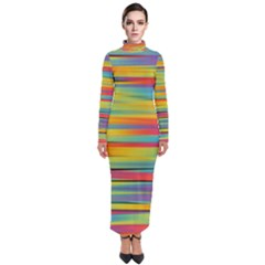 Rainbow Swirl Turtleneck Maxi Dress