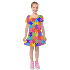 Rainbow Jigsaw Puzzle Kids  Short Sleeve Velvet Dress by retrotoomoderndesigns