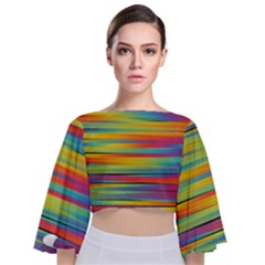 Rainbow Swirl Tie Back Butterfly Sleeve Chiffon Top