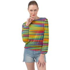 Rainbow Swirl Banded Bottom Chiffon Top by retrotoomoderndesigns