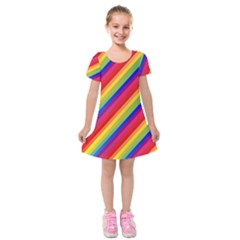 Rainbow Diagonal Stripes Kids  Short Sleeve Velvet Dress by retrotoomoderndesigns