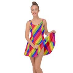 Rainbow Diagonal Stripes Inside Out Casual Dress