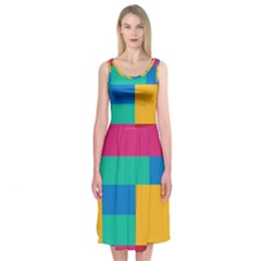 Rainbow Color Blocks Midi Sleeveless Dress
